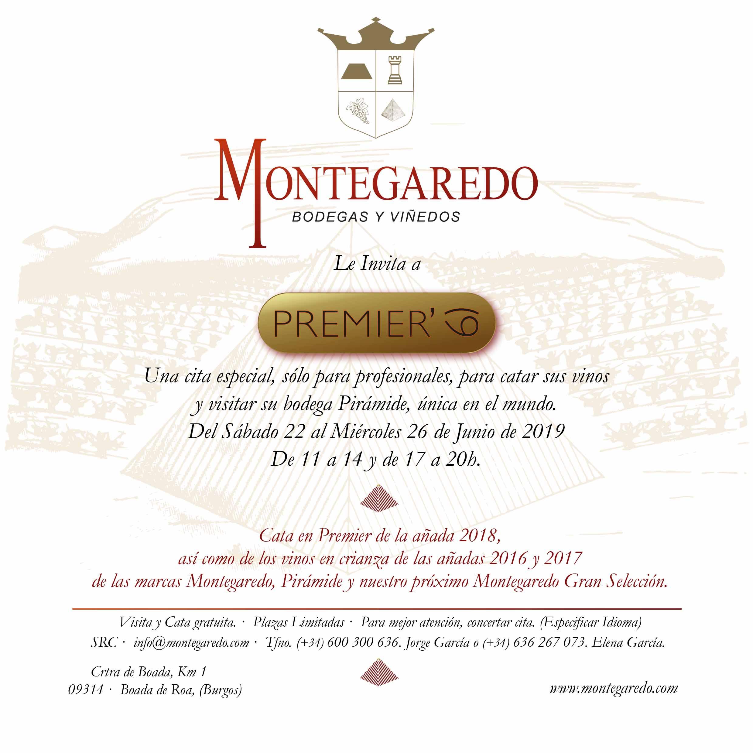 INVITACION PREMIER 19 MONTEGAREDO , PIRAMIDE, RIBERA DEL DUERO